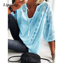 Casual Plus Size Losse Katoen Lijn Blouse Zomer Sexy V-hals Kwastje Shirt Lente Drie Kwart Mouw Hollow Out Lace tops Blusa(China)