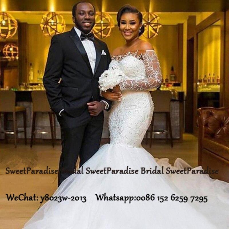 Gorgeous Mermaid Boat Neck Wedding Dress With Long Sleeves 2020 Beads Appliques African Women Bridal Dresses Vestido De Noiva