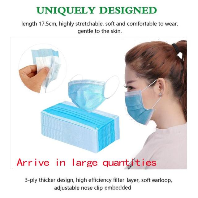 20/30/40/50/100pcs Non-woven 3 layers Disposable Mask Breathable Face Mouth Mask Kids Adult Ear loop Filter 2020 1