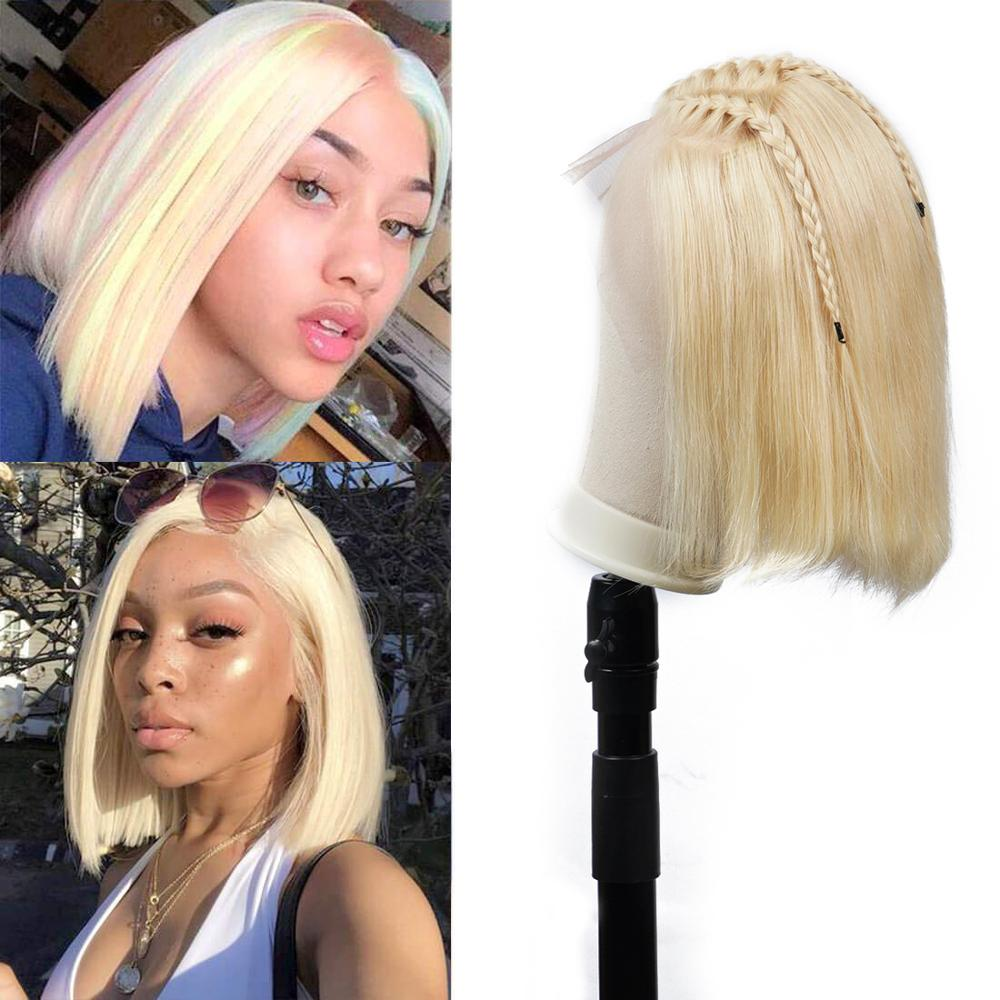 Brenda Hair 13x6 Lace Front Human Hair Wigs For Black Women 613 Blonde Short Bob 150% Density Lace Wigs Remy Hair Pre Plucked