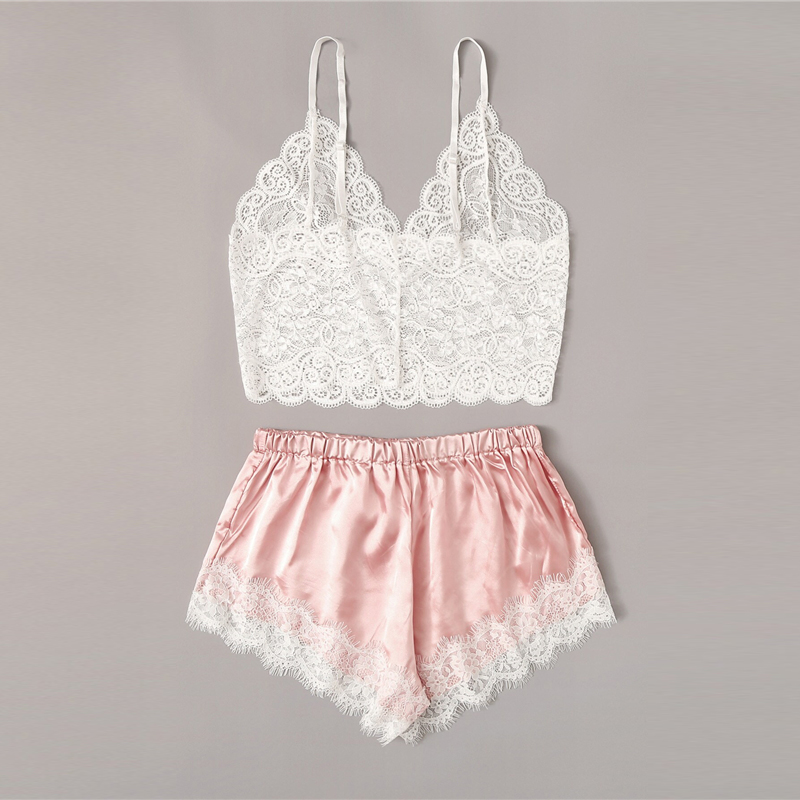 Floral Lace Bralette With Satin Shorts Lingerie Set Women 2019 Summer Sexy Sets Ladies Bra And Panty Underwear Pajama Set-Pink