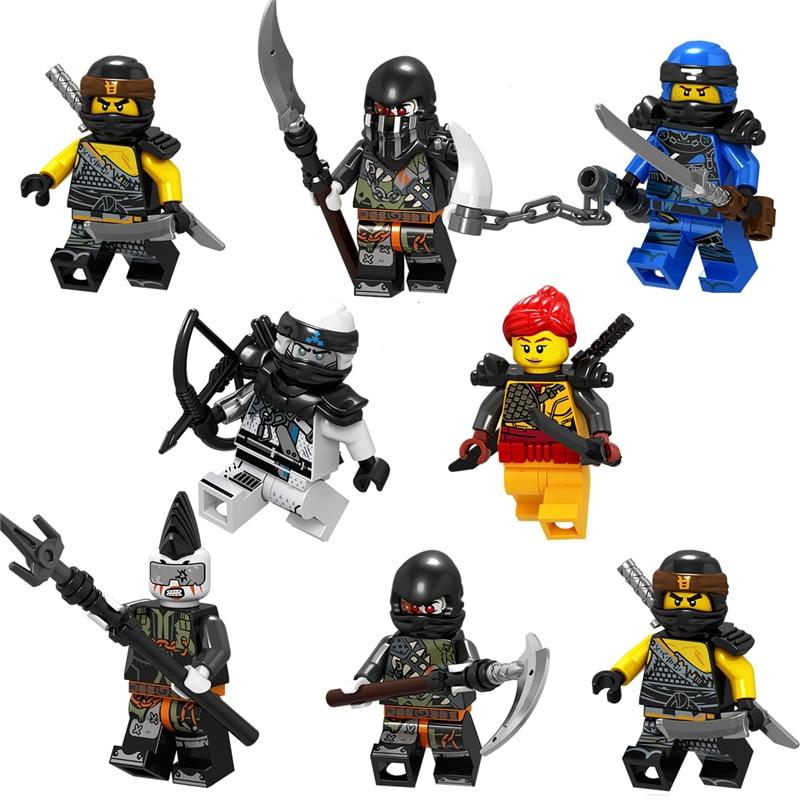 1pcs Ninja  Zane Cole Lloyd Kai Jay Carmadon Ninjagoed Figures Building Blocks Compatible With Legoinglys Toys For Children Boys