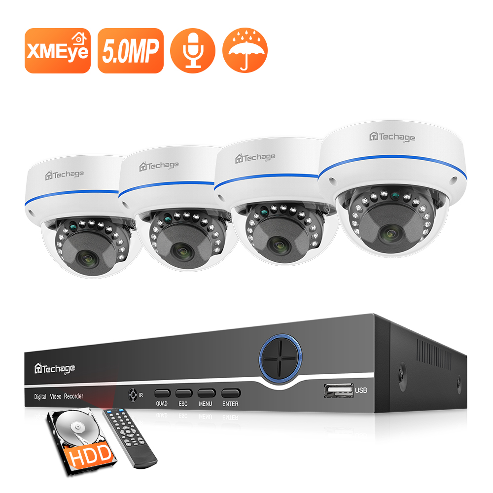 Techage H.265 4CH 5MP Home Security POE NVR Kit 2MP Audio Sound IP Camera Dome Indoor P2P Video CCTV Surveillance System Set image