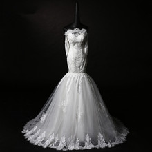 real photos appliques boat neck New long kurtis lace evening bridal gown bride v