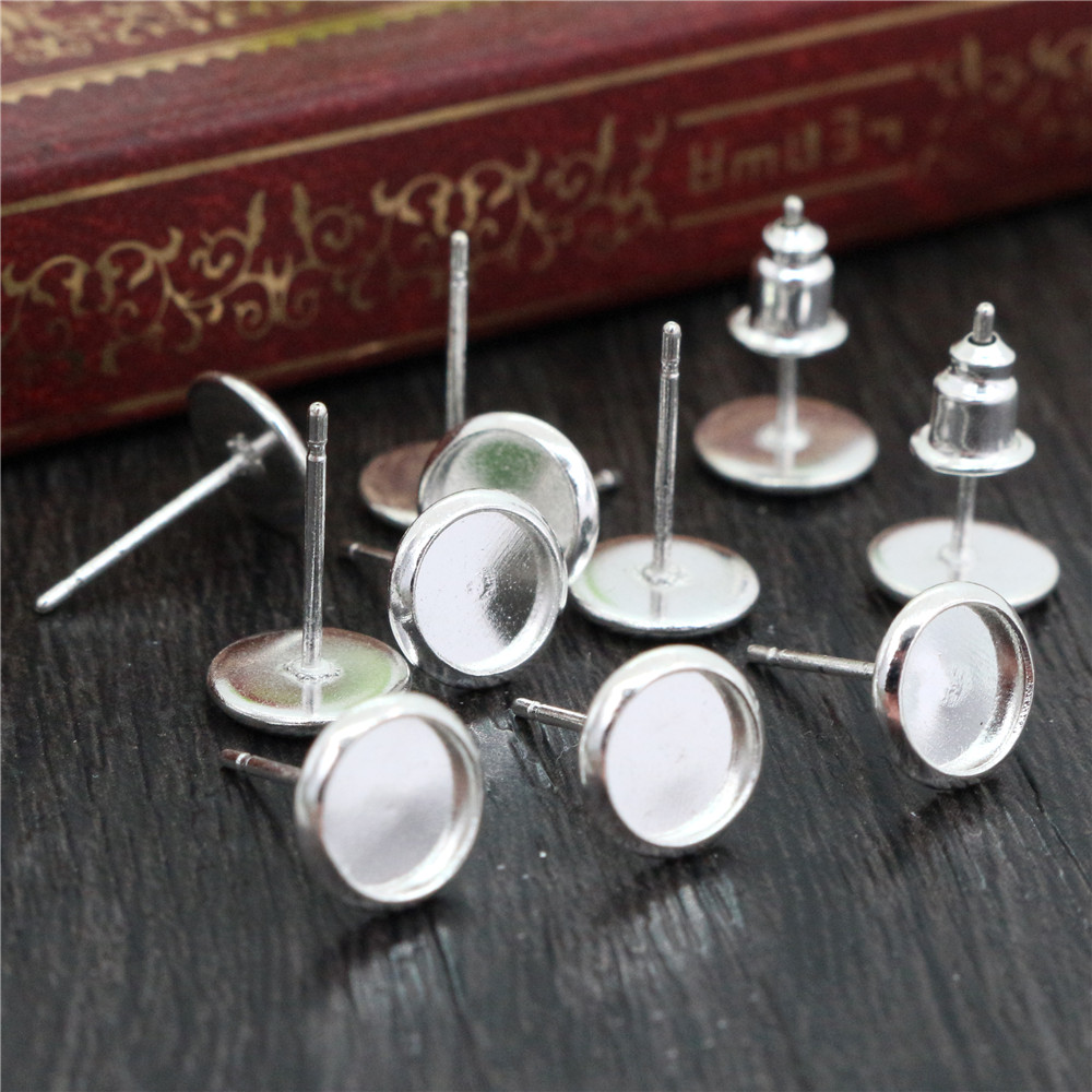 6mm 20pcs/Lot Bright Silver Plated Colors Earring Base Studs Ear Cameo Settings Cabochon Base Tray Blank (With Back)-S5-36