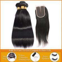Fasci di capelli lisci lanqi con fasci di tessuto frontale brasiliano per capelli umani con fasci di capelli peruviani frontali in pizzo con chiusura
