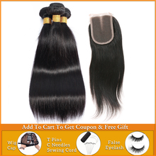 wholesale straight hair bundles with closure Brazilian Peruvian weave bundles with closure human hair bundles with lace closure
