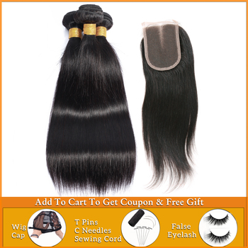 wholesale straight hair bundles with closure Brazilian Peruvian weave bundles with closure human hair bundles with lace closure image