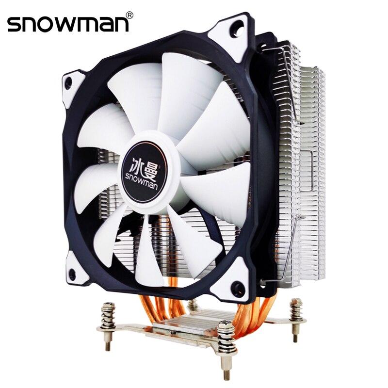 Кулер для процессора SNOWMAN с 4 тепловыми трубками, 120 мм, PWM, 4-контактный, RGB, для ПК, тихий, Intel LGA 2011, 1150, 1151, 1155, X79, X99, AMD, AM4, AM3, вентилятор охлаждени...