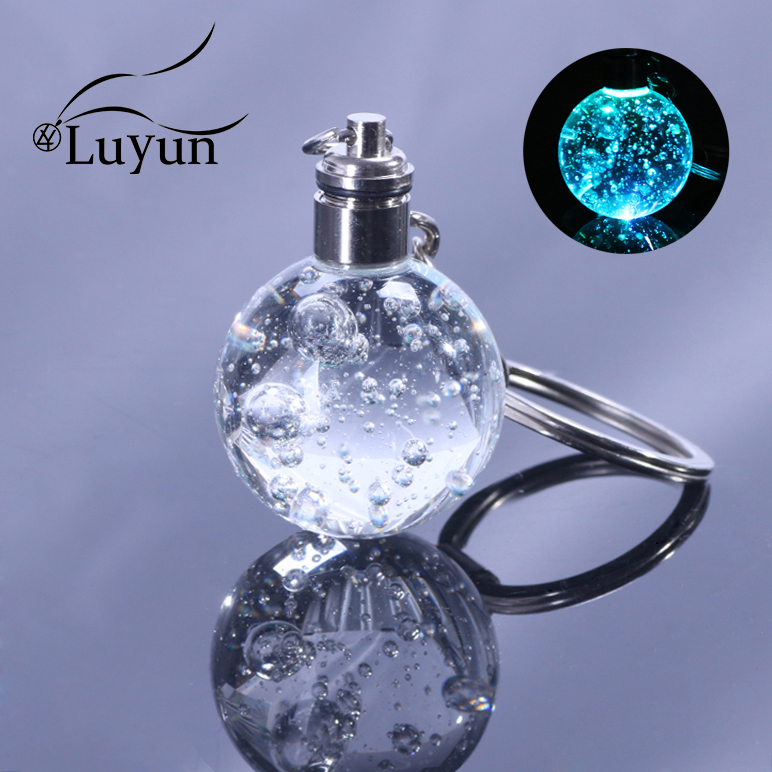 Luyun Glow Key Chain Bubble Soccer Basketball Earth Ball Crystal Keychain Keychains For Car Keys Wholesale