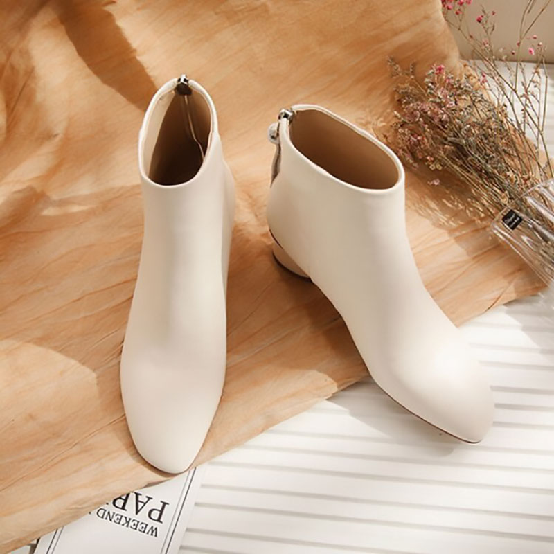2019 New Fashion Luxury Boots Women Designers Genuine Leather Zip Round Toe Square Heel High (5cm 8cm) Ankle Women Boots