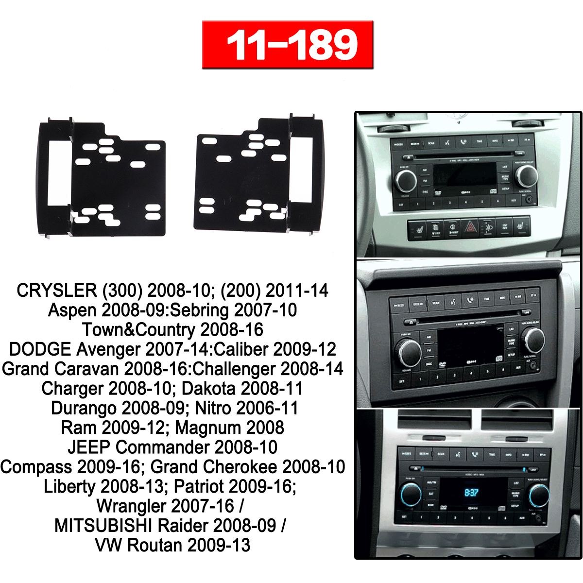 Car Radio frame Audio Fascia For CRYSLER (300) 2008+ Aspen DODGE Avenger Car Stereo Radio Fascia Panel Installation Adapter