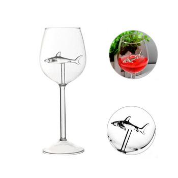 1PC lampka do czerwonego wina szkło europejskie kubek szkło kryształowe Shark Cup butelka na wino szpilki Shark kieliszek do czerwonego wina wesele prezent tanie i dobre opinie SAFEBET Koktajl szkła red wine glass