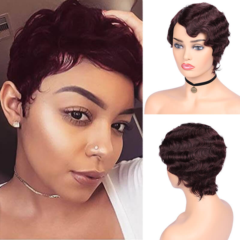 FAVE Human Finger Wave Wigs Short Brazilian Remy Retro Pixie Cut Wigs Ocean Wave Wig For Black Women Cosplay Short Hairstyle