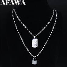 AFAWA 2pcs Stainless Steel Layered Necklace for Women Silver Color Love Necklace Jewelry collar acero inoxidable mujer N3749S01 summer mermaid stainless steel long necklace men women silver color necklace jewelry collar acero inoxidable mujer nzz5s03