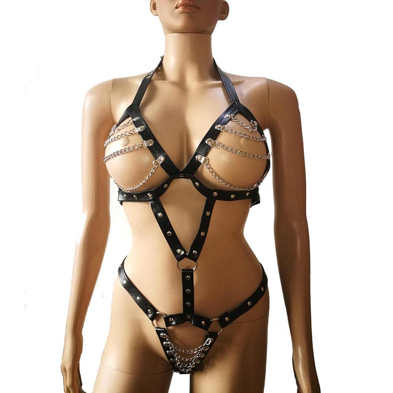 Image 3 - Sexy Leather Strap Body Harness Halter Teddies with Metal Chained Bra and Crotch Fetish Bodysuit Costume Kinkychain sexyteddy teddiesteddy sexy -