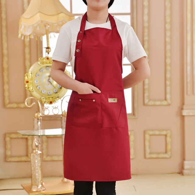 Pure Color Adjustable Shoulder Strap Kitchen Apron Waterproof And Antifouling Bib For Kitchen Baking Barbecue Cooking 3