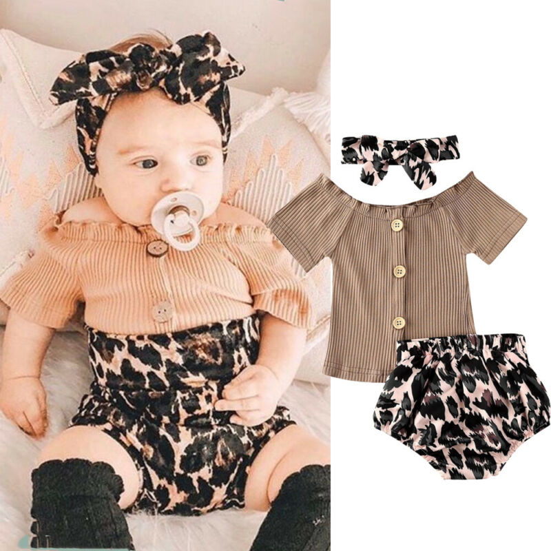 2020 Summer Toddler Baby Girl Clothes Button Cotton T Shirt Knitted Striped Off Shoulder Tops Leopard Shorts Set Outfits 3PCS
