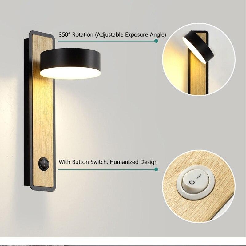 Купить светодиодная настенная лампа с выключателем современный светильник