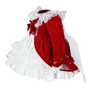 Image 2 - 4PCS ילדה סתיו חורף אביב אדום קטיפה בציר ספרדית נסיכה לוליטה Pompom כדור חג המולד יום הולדת חתונת מסיבת שמלה