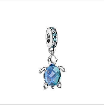 Original Real 925 Sterling Silver Beads Charm Murano Glass Sea Turtle Dangle Charm Fit Pandora Bracelet For Women DIY Jewelry