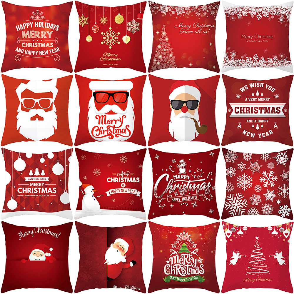 Christmas Soft Peach Skin Velvet Polyester Square Throw Pillow Cases Waist Cushion Cover Bed Sofa Pad Cover Red 45x45cm Q40