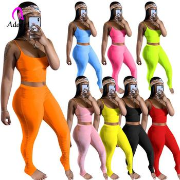 Fitness Spaghetti Strap Sexy Pleated Two Piece Set Women Crop Tops + Stacked Leggings Candy Color Summer Skinny Sport Tracksuit cute spaghetti strap zippered candy color polka dot crop top for women