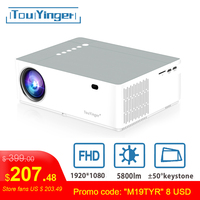 TouYinger M19 проектор Full HD 1080P 5800 люмен поддержка AC3 LED Видео Домашний кинотеатр Full HD Кино проектор Android ТВ коробка опционально
