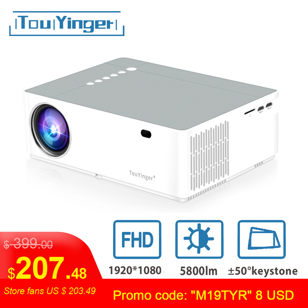 TouYinger M19 Projector Full HD 1080P 5800 lumen Support AC3 LED video Home Theater Full HD Movie Beamer Android TV Box Optional