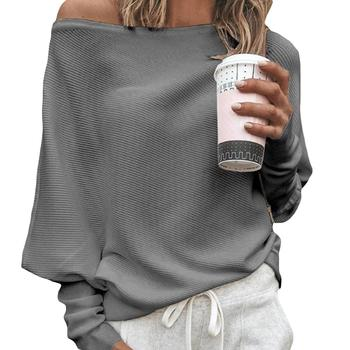Sexy Women Sweaters Solid Color Off Shoulder Long Sleeve Sweater Loose Knitted Pullover female streetwear  pull femme 2021 1