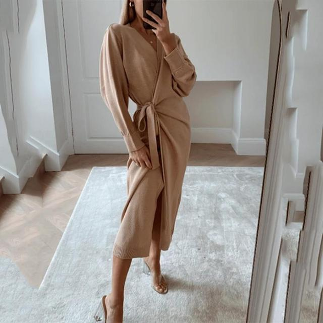 Autumn And Winter Women Kitted Dress Elegant Casual V -Neck Long Sleeve Midi Dress Solid Loose Split Side Sexy Dresses 3