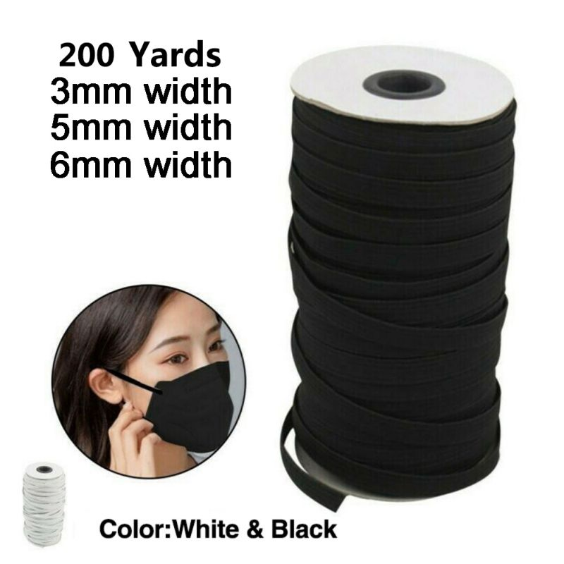 O  200 Yards Length DIY Flat Braided Elastic Band Cord Knit Band Sewing 1/8 1/6 1/4in  3mm/5mm/6mm Width Mask Accessories