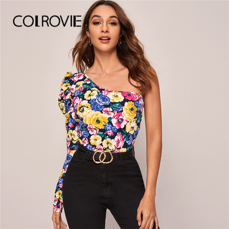 COLROVIE One Shoulder Gigot Sleeve Floral Print Top Women Sexy Slim Fit Multicolor Tees 2020 Spring Ladies Casual Pullover Tops