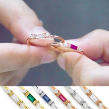 Square Cubic Zircon Small Women Ring Engagement Wedding Band Rose Gold Color Micro Paved Female Finger Ring Party Jewelry DBR148 blucome brand design rose gold color square cubic zircon ceramic earrings ring set chinese porcelain women wedding jewelry sets