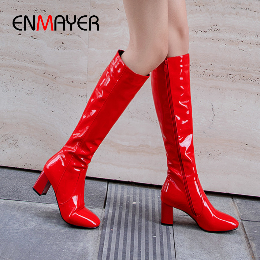 ENMAYER PU Square Heel Rainboots Autumn Thigh High Boots Zipper Microfiber Solid Women Shoes Red Knee High Boots White Black in Mid Calf Boots from Shoes