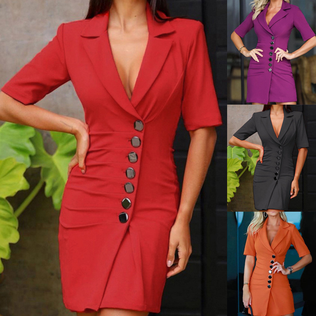 Fashion Office Ladies Suit Women Blazer Dress Double Breasted  Button Front Military Style Long Dress Dress Free Ship платье Z4