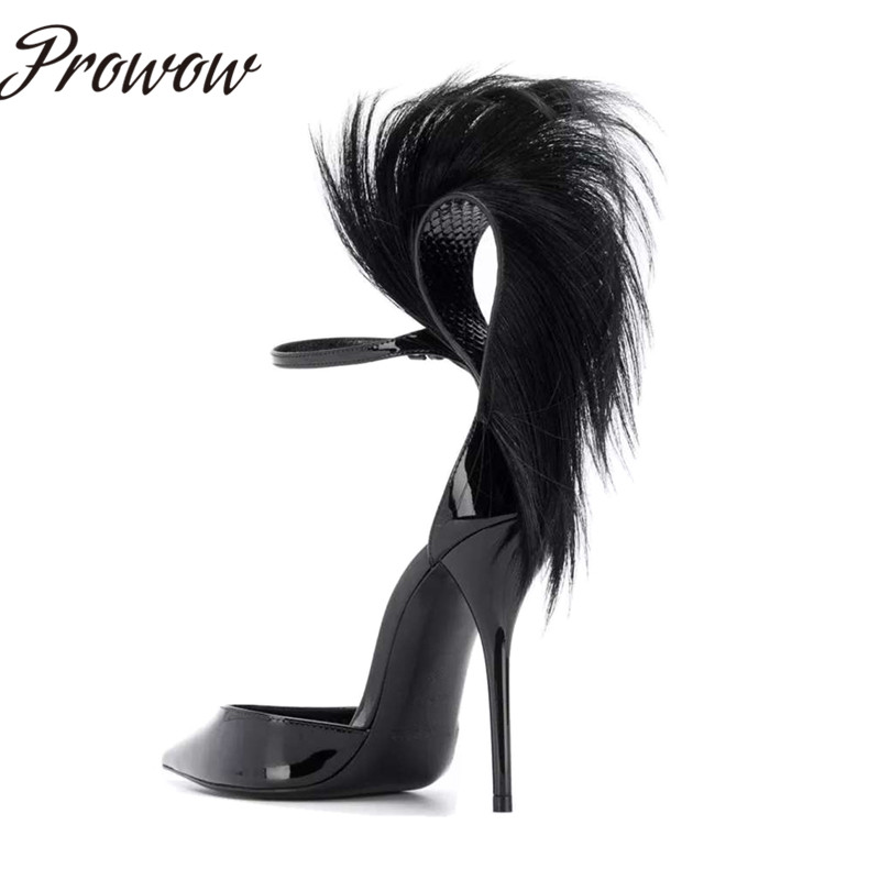 Prowow New Black Sexy Pointed Toe HIgh Heel Pumps Spring Summer Party Feather Thin HIgh Heel Pumps Shoes Women - 4