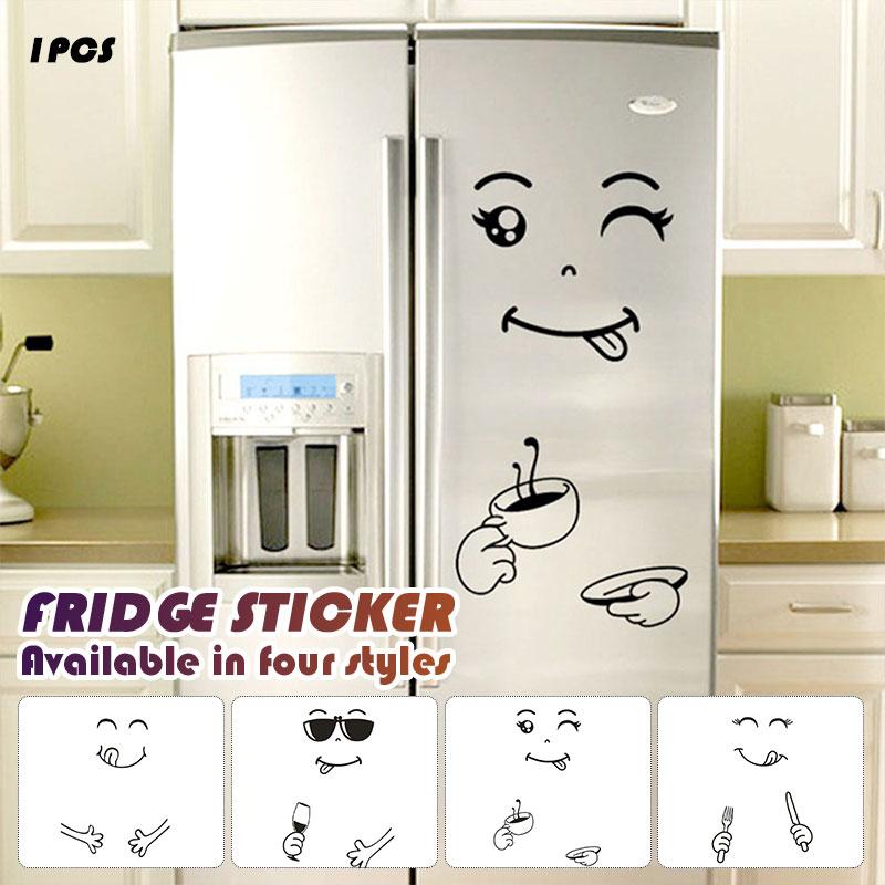 ><font><b>PVC</b></font> Cute Refrigerator Sticker Happy <font><b>Delicious</b></font> Face Diy <font><b>Cartoon</b></font> Window Fridge Sticker Home Decor Black Tiles Kitchen Art Becudda