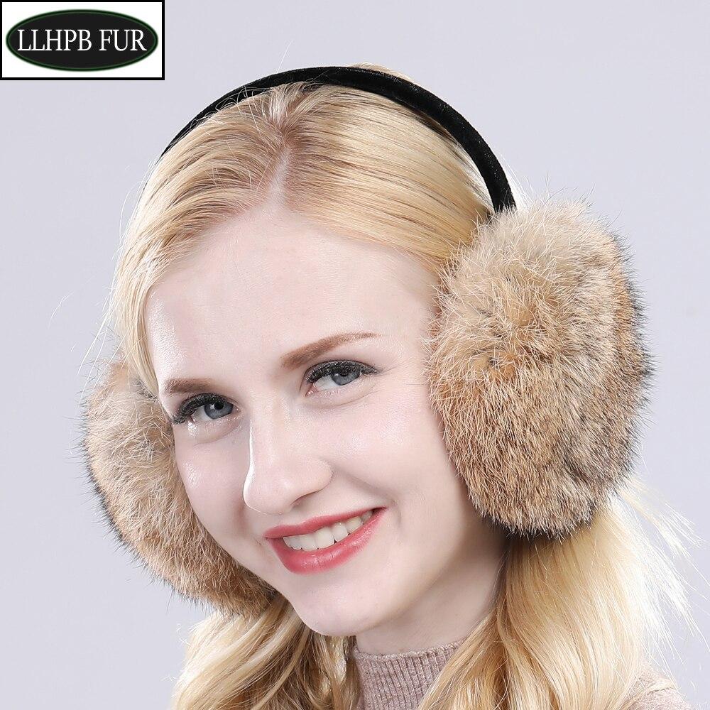 2020 Women Winter Outdoor Real Rabbit Fur Earmuffs Girls Warm Plush Rabbit Fur Earflaps Thermal Lady Natural Rabbit Fur Earmuff