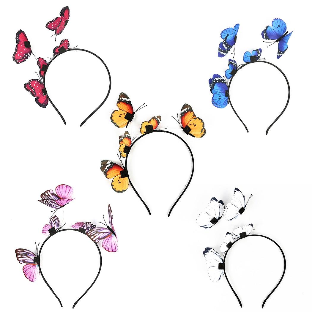 Girls Hair Band Kids Butterfly Headband Children Party Women Hair Accessories Colorful Handmade Fairy Princess Hairbands
