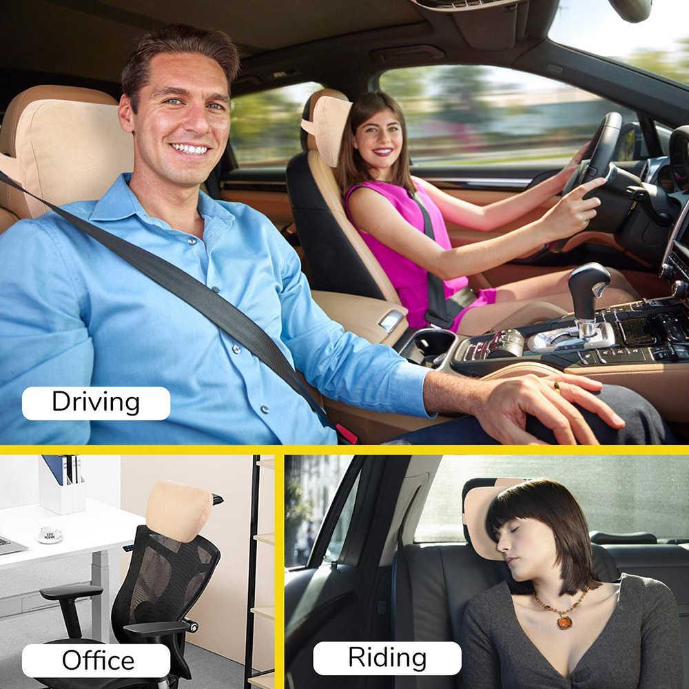 블랙 메모리 리바운드 카시트 레스트 쿠션 헤드 레스트 넥 베개 아우디 렉서스 테슬라 BMW 메르세데스 지프 인피니티 캐딜락