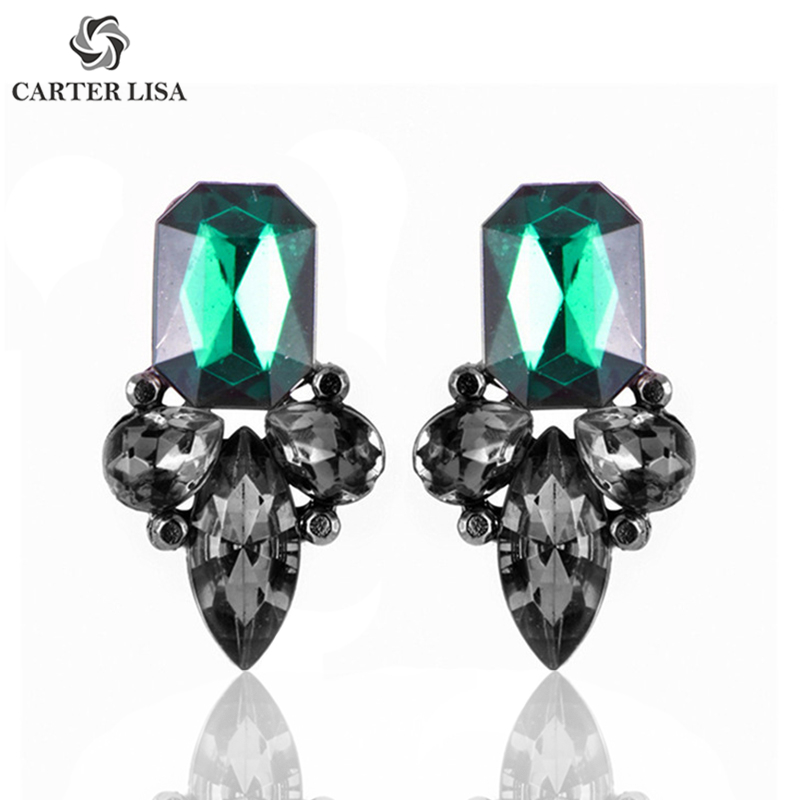 CARTER LISA Exquisite Big Crystal Pendientes Duzzling Rhinestone Flower Stud Earrings For Women Fashion Jewelry Party Gift