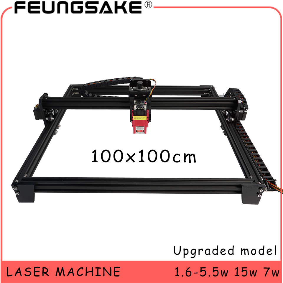 15w máquina de corte a laser ttl pmw controle 1*1m grande área 5500mw máquina de gravação a laser 2.5w máquina de escultura a laser 7w roteador cnc