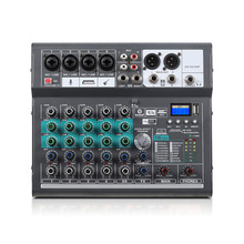 Professional Audio Mixer Digital 6-Channel Mixing Console 16 DSP Input 48V Phantom Power Stereo Amplifier Sound Board