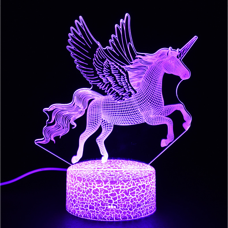 Unicorn Series Colorful Creative Animal Model Horse 3D Light LED Small Night Light Gift Table Lamp Visual Light