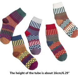 5 Paar Vrouwen Meisje Sokken Zachte Wol Warme Winter Dikke Geometrie Afdrukken Comfortabe 40JF