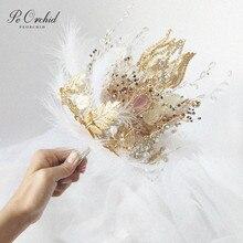 PEORCHID 2020 คทามงกุฎหรูหรา Wedding Bouquet เข็มกลัดเครื่องประดับ Gold Leaf Feather เจ้าสาวมือดอกไม้ CUSTOM 2020