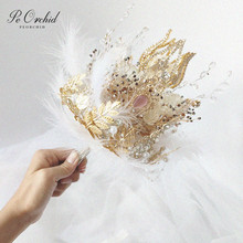 PEORCHID broche de lujo con forma de cetro para boda, joyería, hoja de oro, pluma, flores para novia, 2020