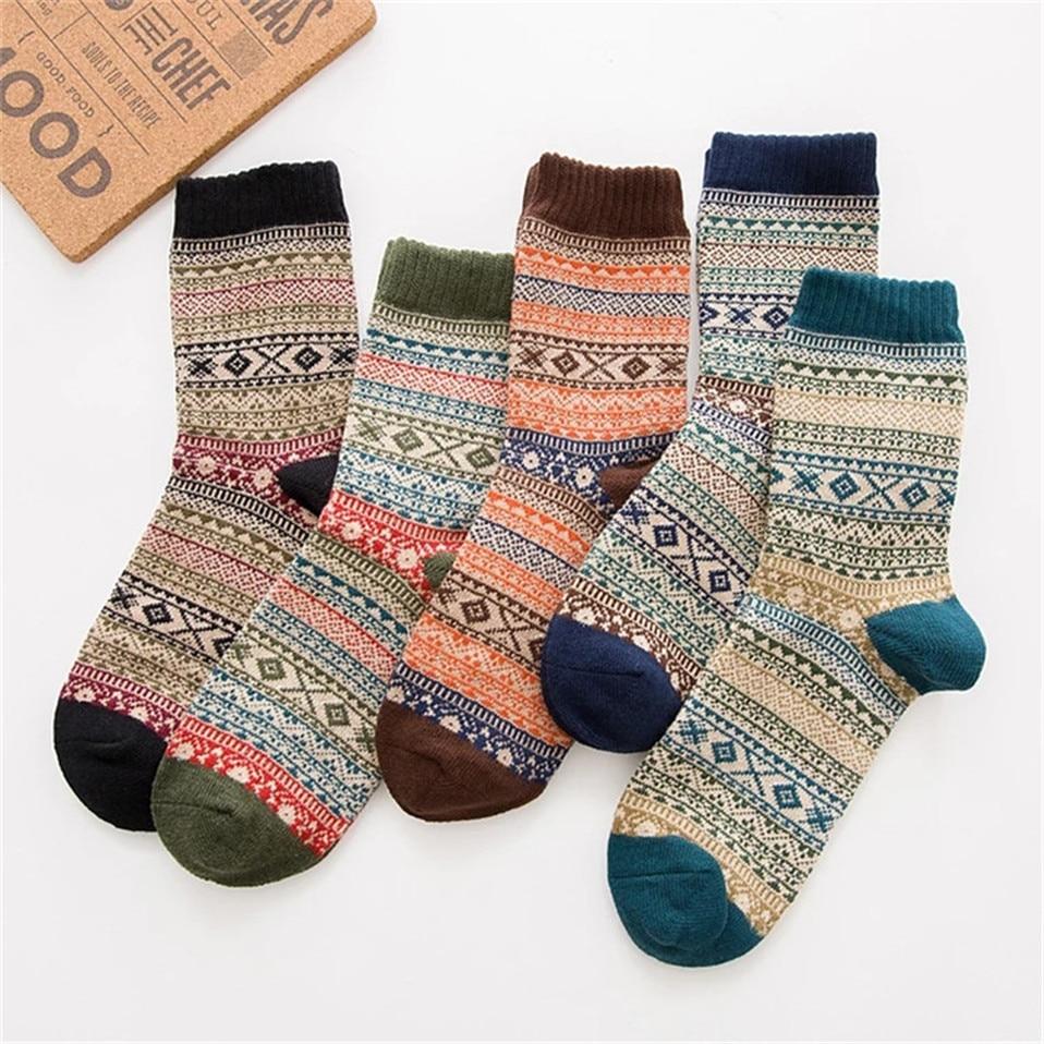 New Arrivals Winter Men Socks Thick Warm Stripe Wool Socks Casual Dress Calcetines Hombre Sock Business Male Socks