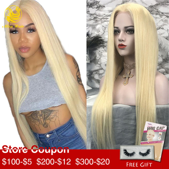 Alisa Hair 13*4 Lace Front Wig Silky Straight 150% Density Blonde 613 Virgin Brazilian Human Hair Wigs for Black Women